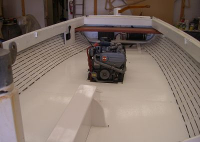 Timber Boat - after broken ribs repaired, lining boards installed and new cockpit floor